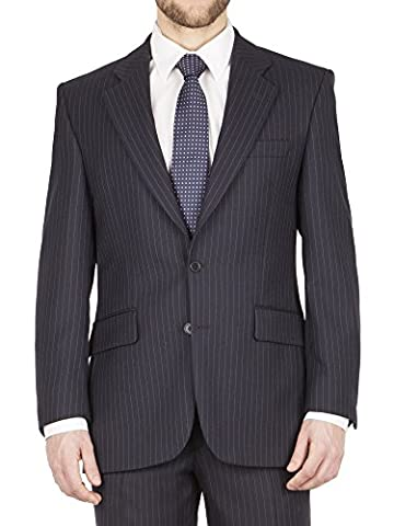 Suit Direct The Label Navy Pinstripe Big+Tall Suit Jacket - LL0943JS Regular Fit Mixer Jacket Navy 36S