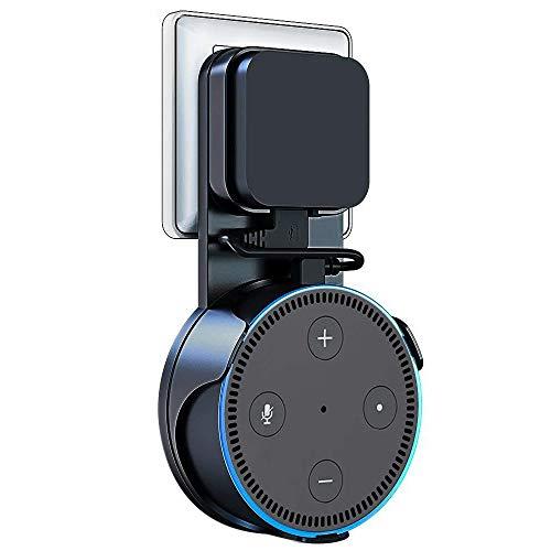 Vobon Wandhalterung Ständer für Dot 2, Wunderbare Halterung Zubehör für Smart Home-Lautsprecher, Ohne Unordentlich Kabel Oder Schrauben, Angehängt (Ladekabel ist Enthalten) (Schwarz)