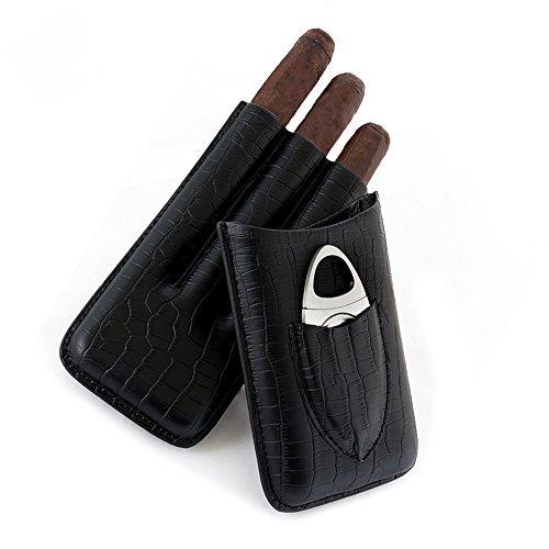 Zigarren Etui, 3 Halter echtes Leder Zigarrenetui mit silbernem Edelstahl Messer (Tube Cigar Cohiba)