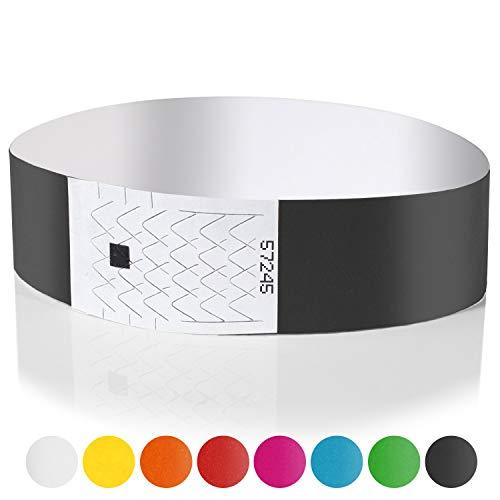 Amazy Tyvek braccialetti (200 pezzi | numerati) - braccialetti identificativi per eventi, feste, festival e discoteca (Nero)