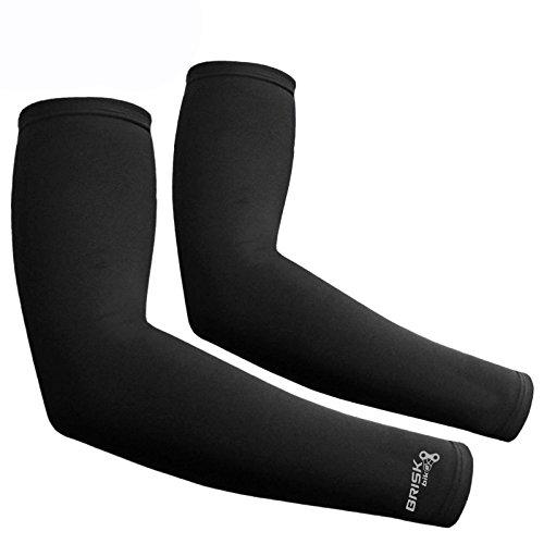 Brisk Cycling - maniche Soft Shell termiche a compressione per ciclismo, nero