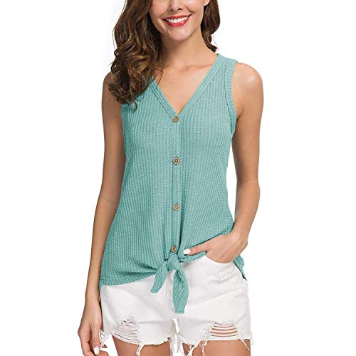 Joinfun Mujeres Camisetas sin Mangas Tank Top, botón Strappy Sexy Casual sin Mangas Blusa Cami Camisas Camiseta Chaleco Tops para Mujeres Dama (Verde Claro, L)