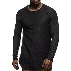 LEIF NELSON pour des Hommes Pullover Longsleeve Oversize Sweatshirt col Rond Auschnitt Sweatshirt LN6298 - Schwarz - Taille XL