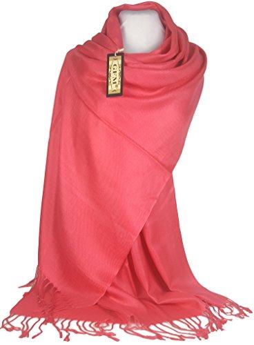 GFM Fastglas Style Écharpe en Pashmina Motif plumes B9CORGLB - Coral Pink