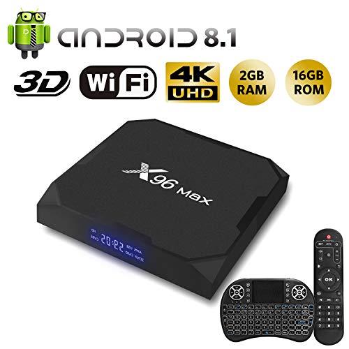 NBKMC S905X2 X96MAX Android 8.1 TV Box [2GB RAM+16GB ROM] Boîtier TV 3D+4K USB3.0 Android 8.1 Smart TV, avec HD/H.265 / 4K / 3D [2019 Dernière Version]