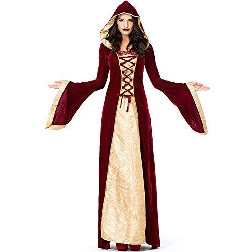 Femme Kostüm Adulte - Sijux Costume de Reine Rouge et Jaune Pour Femme Adulte, Robe à Manches Longues, légendes du mal, boîte de nuit Vintage Dress Up,Red,M