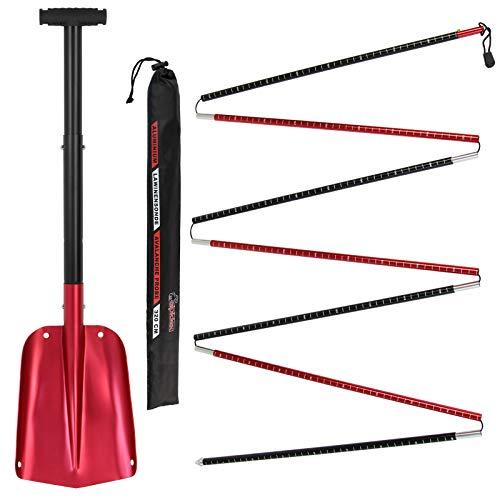 ALPIDEX Lawinensonde und Schneeschaufel/Lawinenschaufel ausziehbar Aluminium, Farbe:Red - 320 cm