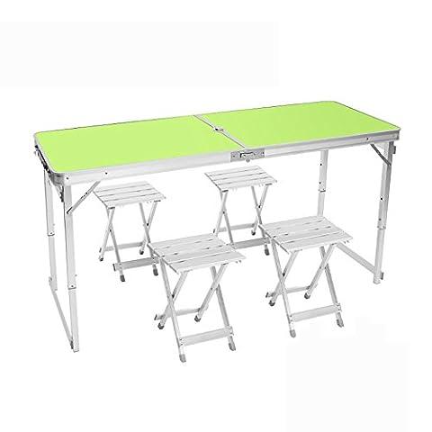 MIAO Outdoor Portable einfache Aluminium-Legierung verlängert 150 cm * 60 cm Falten Tische und Stühle einschließlich Tisch * 1 und Hocker * 4 , green