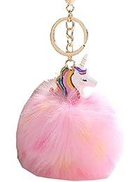 Flyfish Porte Clé/Clef Pompon Fourrure Peluche Femme Fille Licorne Kawaii Pendentif Original Poil Accessoire de Sac Voiture Cadeau Ideal