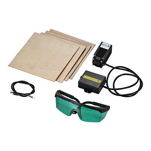 aibecy Maschine von Gravur von Blau Violett-allone Gravur von 12V High Power 500mW Punkt Brennweite verstellbar von 405nm fokussierbar für die 3D Drucker + Der Karten-Kabel/Schutzbrille (Laser Diode Blau)