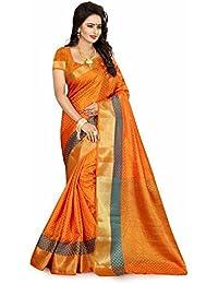 Great Villa Latest Women Thnic Fancy Party Wear Orange Color Silk Saree