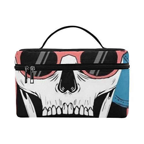 Cool Skull Illustration Palm Trees Los Pattern Lunchbox Tote Bag Lunch Holder Isolierte Lunch Cooler Bag für Damen/Herren/Picknick/Bootfahren/Strand/Angeln/Schule/Arbeit
