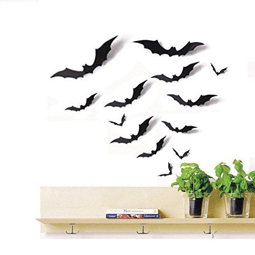 edermaus Aussparungen 3D Verschiedene Größen Schwarz-Halloween Party Home Wandtattoo Dekoration Supplies ()