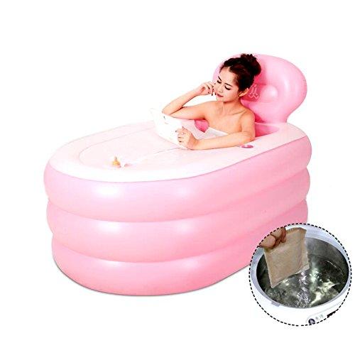 L&Zr Bañera Inflable De Gran Tamaño Espesado Adulto Bañera De Baño Piscina Bañera De Barril De Baño Plegable, Naranja, 150 Cm,Pink