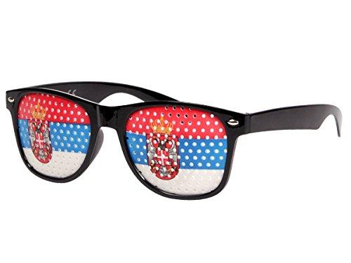 Alsino WM Fanbrille Fussball Brille Länderbrille Gitterbrille Deutschland, Portugal, Brasilien, Schweiz, England, Spanien, Italien, Frankreich, Russland, Kroatien, usa, (V-1165 Serbien)