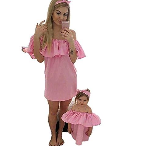 Maman Et BéBé Famille Dress,OverDose Femmes Sexy Robes Courte VolantéE à éPaules DéNudéEs (Femme:40, Rose)
