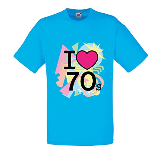 Männer T-Shirt I love 70's - vintage style clothing (Small Blau Mehrfarben)