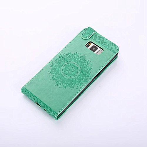 EKINHUI Case Cover Vertikale Flip Stand Case Brieftasche Pouch Style Cover mit geprägten Blumen Blumen & Lanyard & Card Slots für Samsung Galaxy S8 Plus ( Color : Coffee ) Green