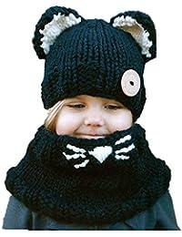 1377543698d4 Freesiom Bonnet Echarpe Set Hiver Cagoule Renard Unisexe Bebe Enfant Garcon Fille  Mignon Kawaii Chaud Tricote