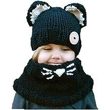 Freesiom Bonnet Echarpe Set Hiver Cagoule Renard Unisexe Bebe Enfant Garcon  Fille Mignon Kawaii Chaud Tricote 8218082c4d7