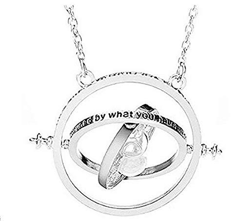 Lovelegis Halskette für Frauen und männer - Harry Potter - Dreher - Time Turner - Sanduhr - Weißer Sand - Silberne Farbe