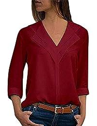 Zarupeng Forme a Mujeres la Camiseta sólida de la Gasa de Las señoras de la Oficina Blusa Lisa de la Manga del Rollo…