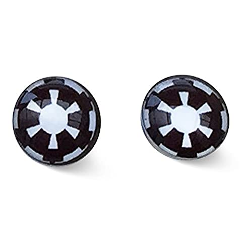 Stainless Steel 8mm Imperial Empire. Black and White Stud Earrings Movie Inspired Jewellery.