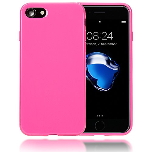 delightable24 Protezione Cover Case in Silicone TPU Jelly per Smartphone APPLE IPHONE 7 - Pink Rosa