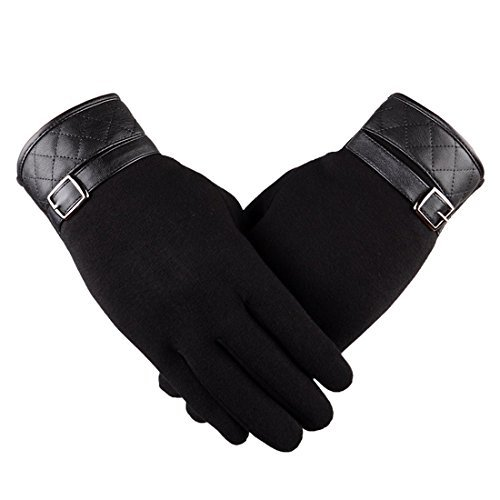 Yingniao Mens Winter Warm Gloves Touch Screen Fleece Lining Windproof Casual Texting Mittens Black