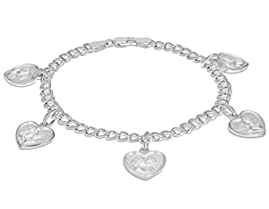 """Tuscany Silver Sterling Silver Double Panza and Angel Hearts Charms Bracelet of 19cm/7.5"""""""