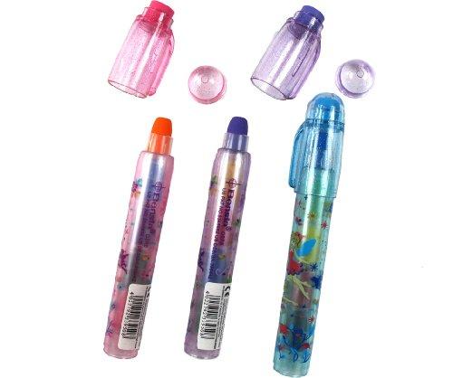 3 Steck-Wachsmalstifte BENSIA / radierbar / 5 Farben in einem Stift