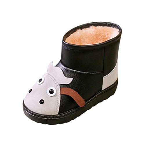 Janly Winterstiefel, Kinder warme Schneestiefel für 1-6 Jahre alte Jungen Mädchen Cartoon Tiere Gummi Martin Schuhe (3-3,5 Jahre alt, Schwarz)