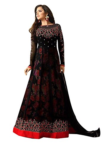 Ffashion Women's Georgette Salwar Suits (Black-A _Red_Free Size)