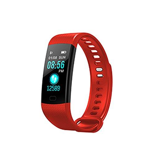 Fitness Tracker Smart Armband Armbanduhr Y5Colorful Bildschirm Herzfrequenz Blutdruckmessgerät Schrittzähler Smart Band, rot