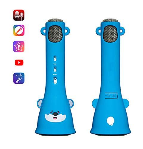 Love Life Drahtloses Karaoke-Mikrofon, tragbares Handheld-Karaoke-Mikrofon Bluetooth-Lautsprecher-weiche Jacke, die Kinder-Mädchen-Geburtstagsgeschenk für iPhone/Android/iPad/Sony, PC lernt,Blue