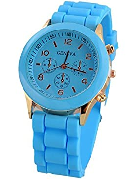 Armbanduhr - GENEVA Unisex Silikon Gelee Gel Quarz Analoge Sport Armbanduhr Azur