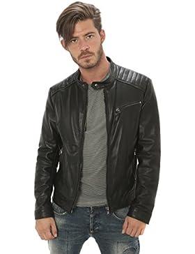 """Hombre chaqueta de cuero genuino estilo """"ciclistas"""" Made in Italy"""