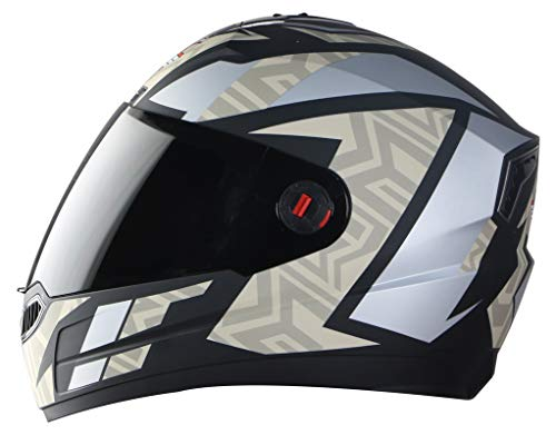 Steelbird SBA-1 Cesar Full Face Helmet in Matt Finish with Smoke Visor (Medium 580 MM, Matt Black/Desert Storm)