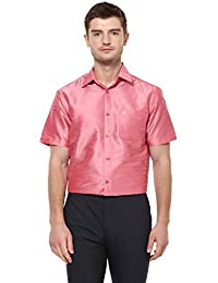 c39e6fc7be9c74 Khoday Williams Men Poly Silk Plain Solid Short Sleeve Regular Fit Casual  Formal Shirt Pink