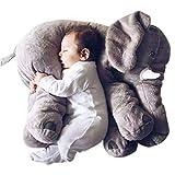 EXQULEG Weiches Plüsch Elefant Kissen Kids Lendenkissen Spielzeug,Plüschtier (53 * 45 * 25cm) (Grau)