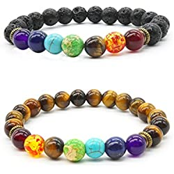 2pcs difusor de piedra de lava pulsera 7Chakra Natural ojo de tigre piedra reiki curación ajustable pulsera de calma Yoga Meditación