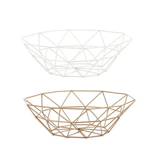 iVansa 2Stk. Nordic Style Obstkorb, Draht Metall Ablagekorb, Multifunktionale Dekoriert Obstschale - 27×27×8cm (weiß + golden) -