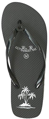 Frauen Schwimmbad-schuhe (Zehentrenner Damen Flip Flops Mädchen Sommer Sandalen Palme-Muster (EU 38-39, Schwarz))