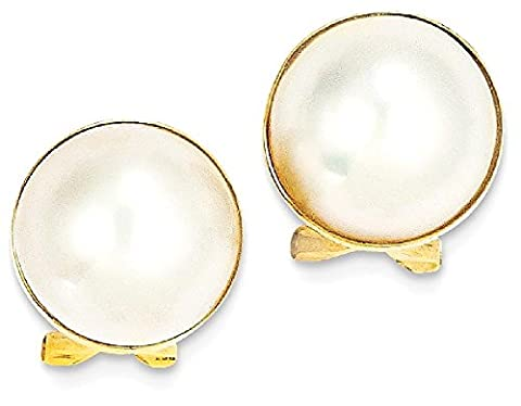 IceCarats 14k Yellow Gold 11mm Cultured Mabe Pearl Ball Button Stud Earrings