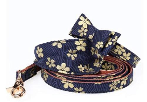 THFPetting Heimtierbedarf Heze Anzug hundehalsband Bronzing Stoff Haustier dreieck schal mit hundeleine Blue Cherry dreieck schal Kragen 1,3 * 42 cm [einstellen 32-38 cm] -