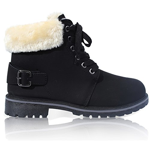 WOMENS LACE UP COLLAR FUR LINED WINTER WARM LADIES ANKLE BOOT SIZE 3-8