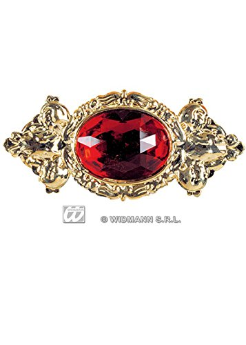 Spilla grande gioiello rosso costume medievale