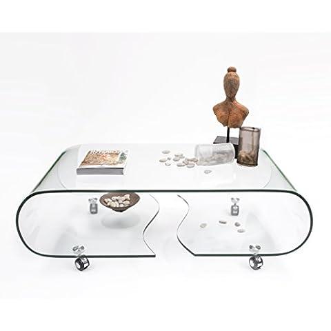 Mesa de centro con ruedas y cristal curvado de una pieza Coffee - 120