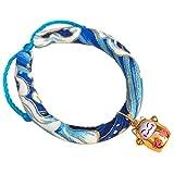 Jamisonme Halskette Hundehalsband mit Fortune Cat Bell Verstellbare Krawatte Blumendruck Katze Anhänger DIY Halsband Halskette für Hunde Katzen (XS, blau)