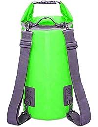 GemCoo Bolsa Estanca 20L/10L Impermeable PVC de Bolsa Seca con Dos Correa Ajustable para Hombro para Viajar Rafting Navegación Kayak Canotaje Camping (Verde, 10L)